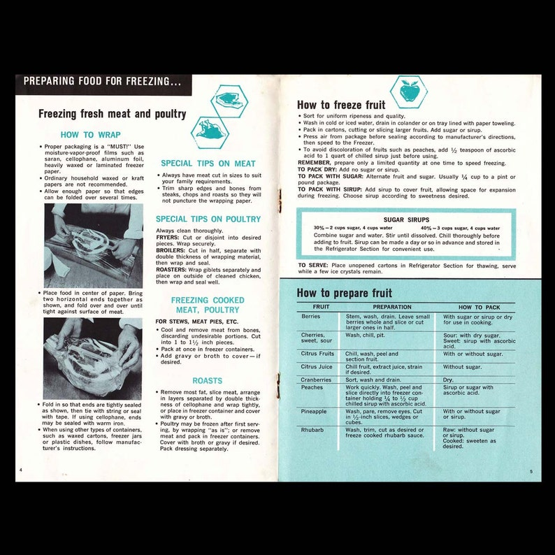 Foodkeeping Tips by Frigidaire Vintage Recipe Book c  1966