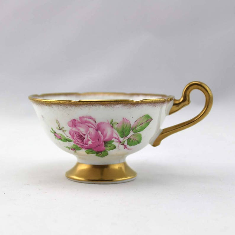 Woodlands Genuine Bone China Tea Cup - Made in England - Pink Roses -  Vintage Tea Cup