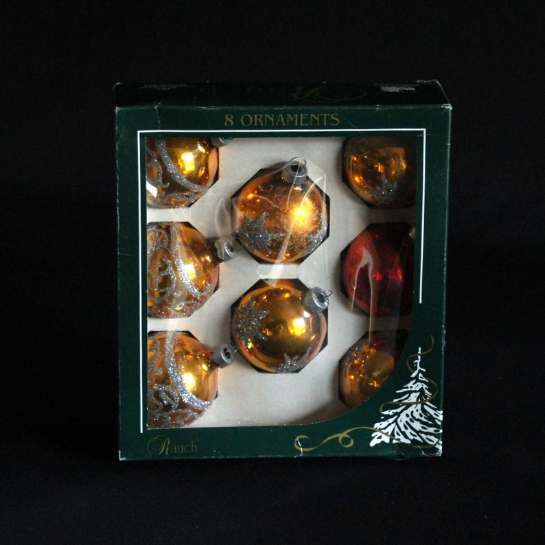 Stenciled Mica Designs Retro Holiday Decorations Set of 8 Mercury Glass Ball Ornaments Rauch Glass Christmas Tree Ornaments in Box