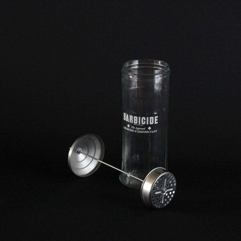 Vintage Barber Shop Barbicide Glass Jar with Chrome Lid & Lifter -  Disinfectant - Apothecary Jar - King Research - Retro Bathroom Decor