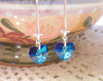 L O V E - Swarovski Crystal Heart Earrings - Antiqued Silver