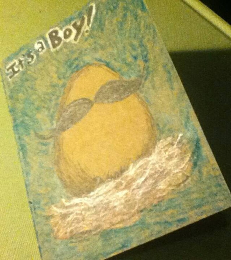It/'s a Boy Egg with Mustache card and envelope