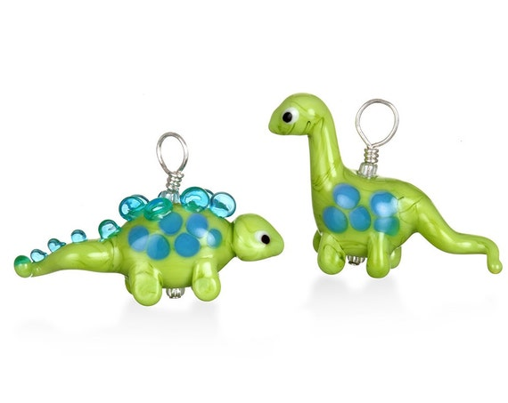 Glass Dinosaur Pendant Necklace on Leather
