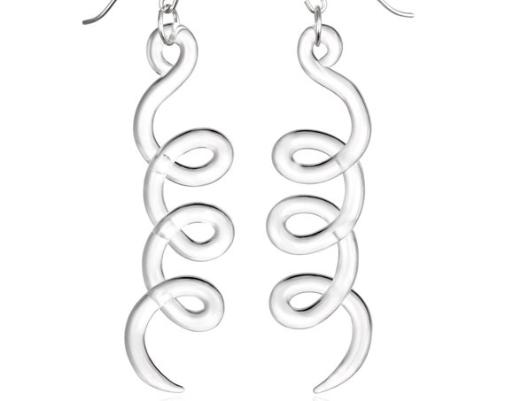 Glass Triple Cursive Curve Earrings