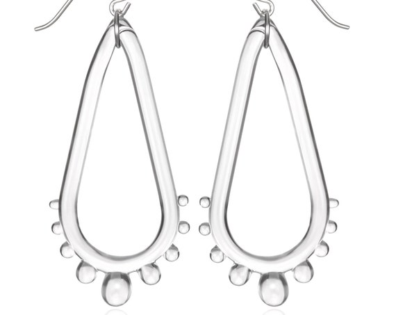 Glass Teardrop Wheel Earrings