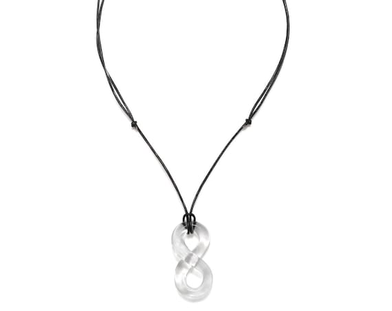 Glass Figure Eight Pendant Necklace