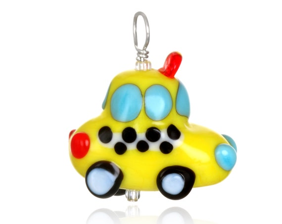 Glass Taxi Cab Pendant on Leather