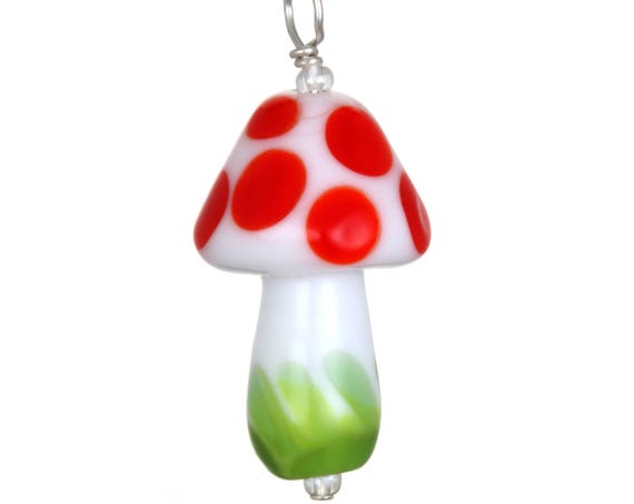 Glass Mushroom Pendant Necklace on Leather
