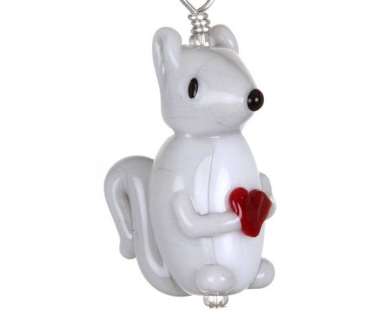 Glass Squirrel Pendant Necklace on Leather