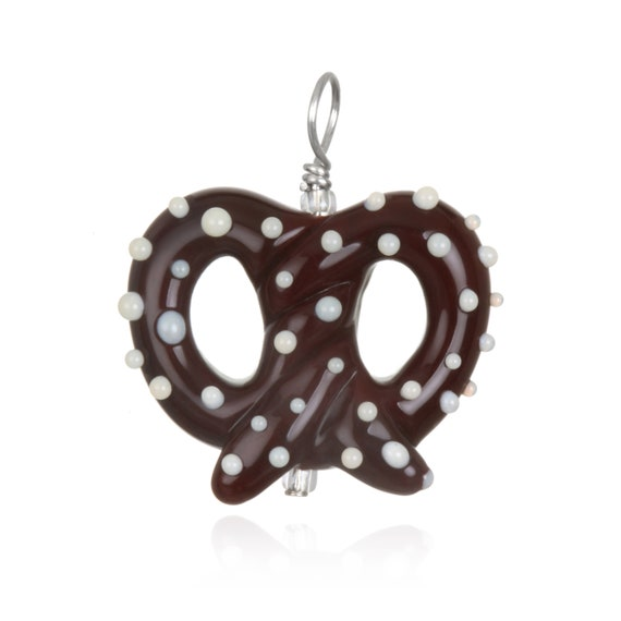 Glass Pretzel Pendant on Leather
