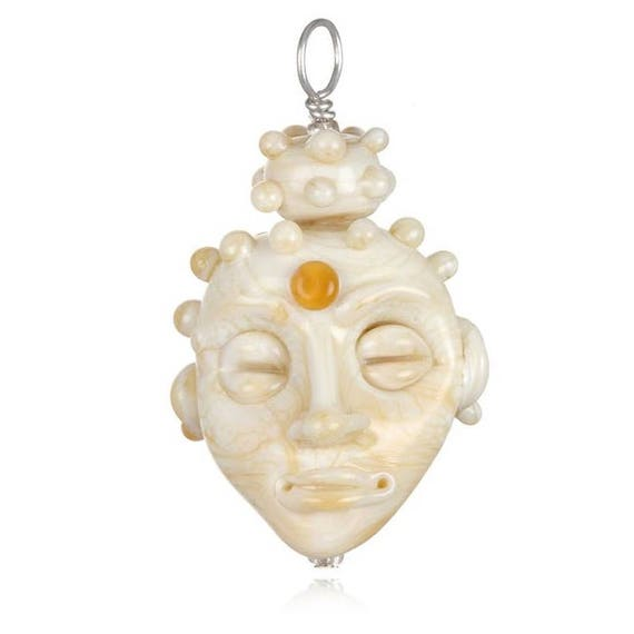 Glass Buddha Head Pendant Necklace on Leather
