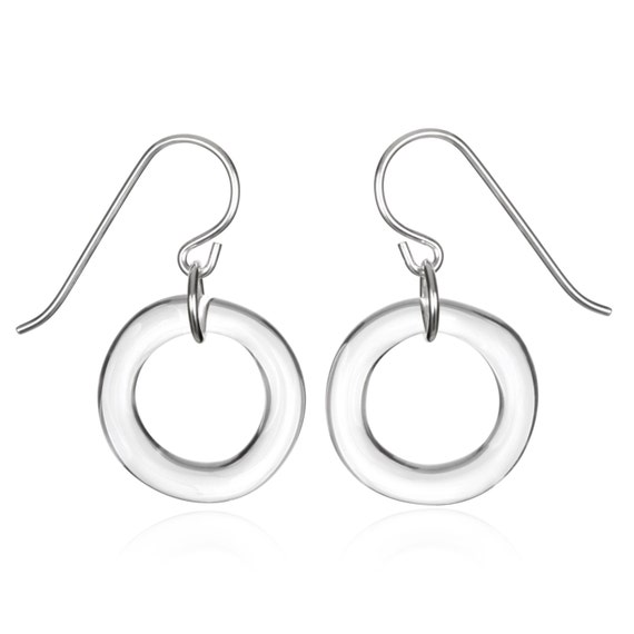 Glass Single Circle Earrings