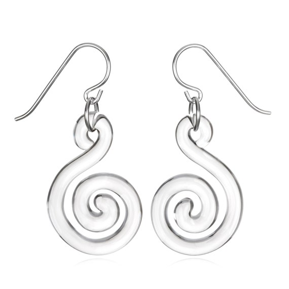 Glass Small Flat Spiral Earrings