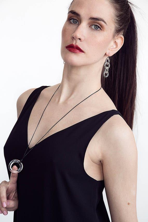 Glass Circle Chain Earrings