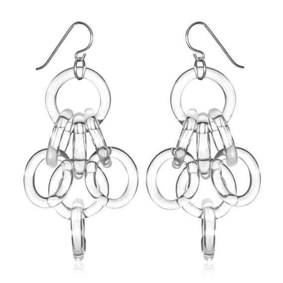 Glass Cluster Chain Earrings
