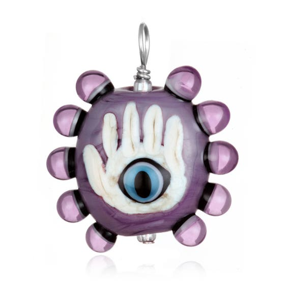 Glass Hamsa with Evil Eye Pendant Necklace on Leather