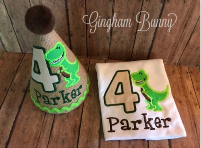 2 Pc Set DINOSAUR First Birthday Hat And Bib You Choose