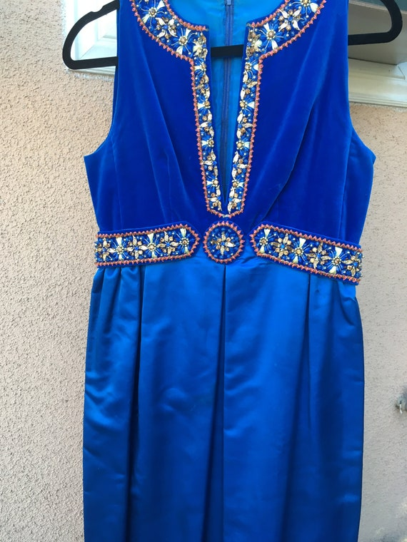 Blue Satin Velvet Evening Gown