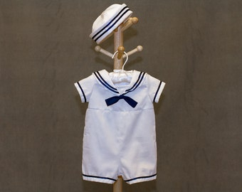 Baby Boy Sailor Outfit with Hat