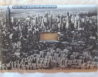 vintage French atlas NEW YORK CITY light switch plate cover (extra large version)