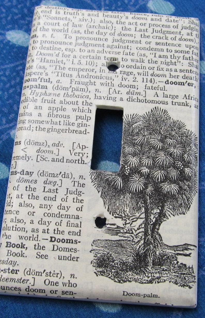 vintage dictionary DOOM PALM light switch plate