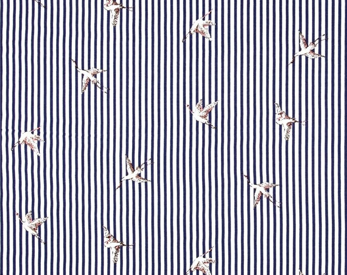 Stripe Bird in Navy Blue by Telio - Rayon Voile Fabric  by the Yard