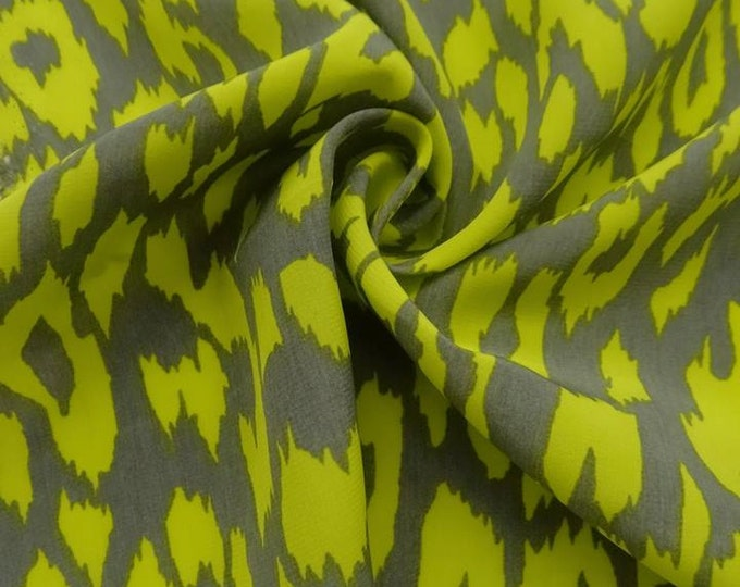 SALE PRICE - Abstract Animal Print in Chartreuse/Gray -  Blouseweight Woven - 100% Polyester  FABRIC