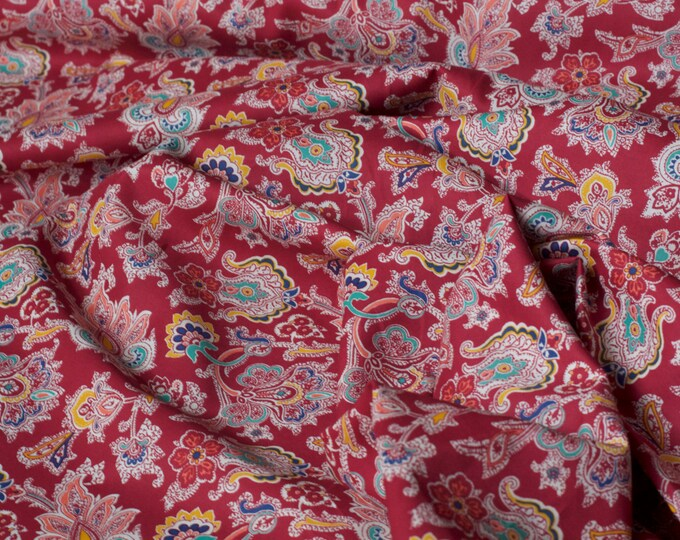 Classic Tana Fabric Lawn Collection - Louis in Red by Liberty Art Fabrics