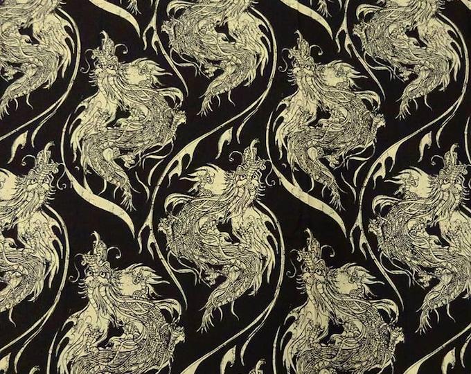 SALE PRICE - Year of the Ninja by Riley Blake - Dragon Print in Muted Black/Custard - 100% Cotton FABRIC