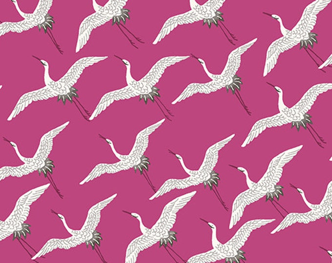 SALE PRICE - Asami - Cranes in Fuchsia by Makower UK for Andover Fabrics - Quilting Cotton Fabric
