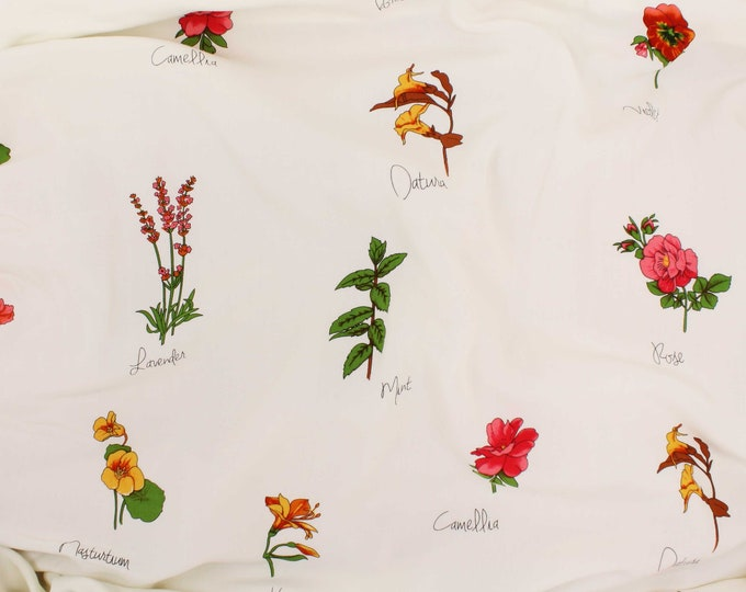 Picasso Flower Names Print in Ivory by Telio - Poplin / Lightweight / Fashion / Garment / Apparel Fabric by the Yard