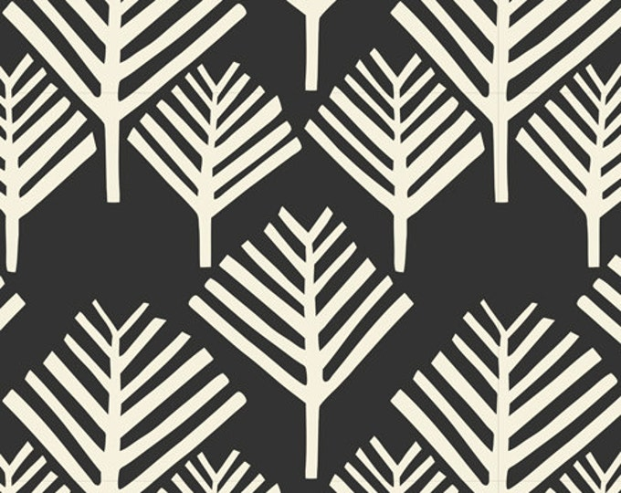 REMNANT FABRIC  - 2 Yards - Yucca - Arbol in Black - Cloud 9 Fabrics - Organic Cotton Voile Fabric