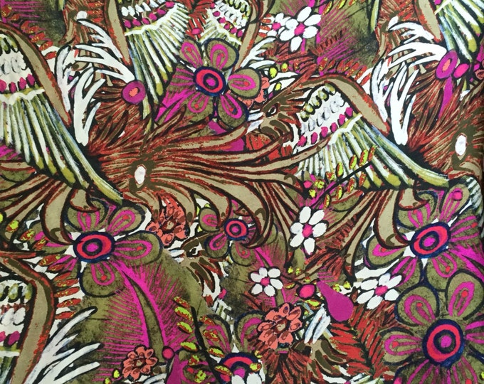 SALE PRICE - Rain Forest Print in Fuchsia/White/Green/Multi - Designer Closeout - Silk Double Georgette FABRIC