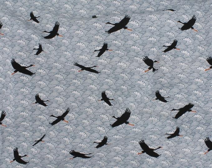 Dali Poplin Bird Print in Blue by Telio - Lightweight / Fashion / Garment / Apparel Fabric by the Yard