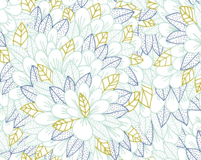 Kindred - Blomma in Turquoise by Cloud 9 Fabrics - Organic Cotton Voile Fabric