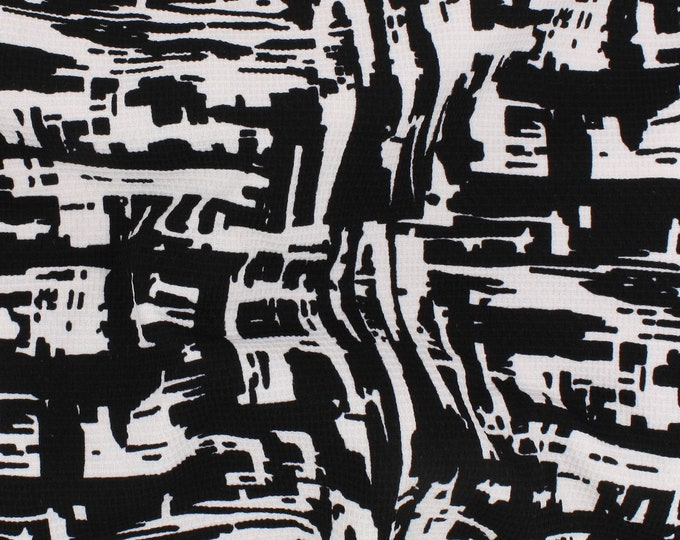 Bella Light Abstract Print Pique KNIT by Telio in Black and White - Fabric By The Yard