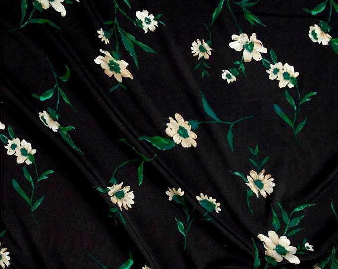 SALE PRICE - Floral Print in Black, Green & Cashmere Tan - Crepe de Chine Fabric