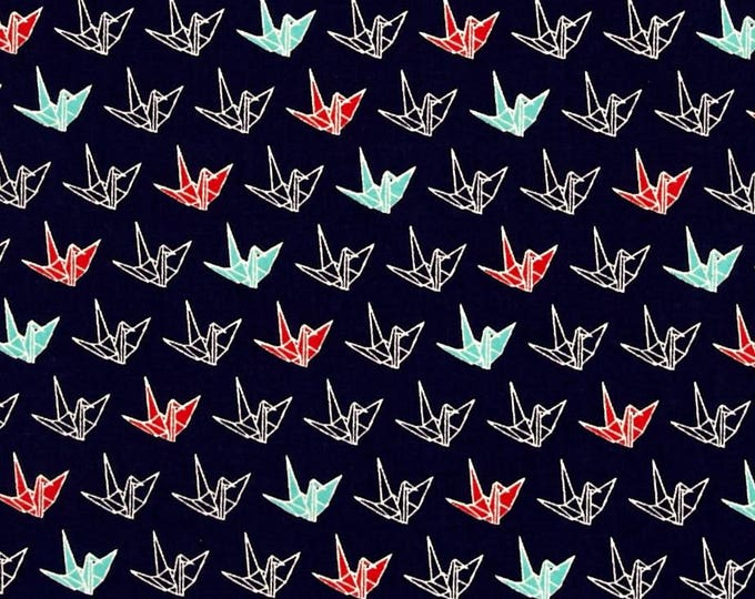 SALE PRICE - Sakura II Origami Cranes in Navy Blue, Teal, Red, and White by Cosmo Textile Company - Cotton Shirting  Fabric