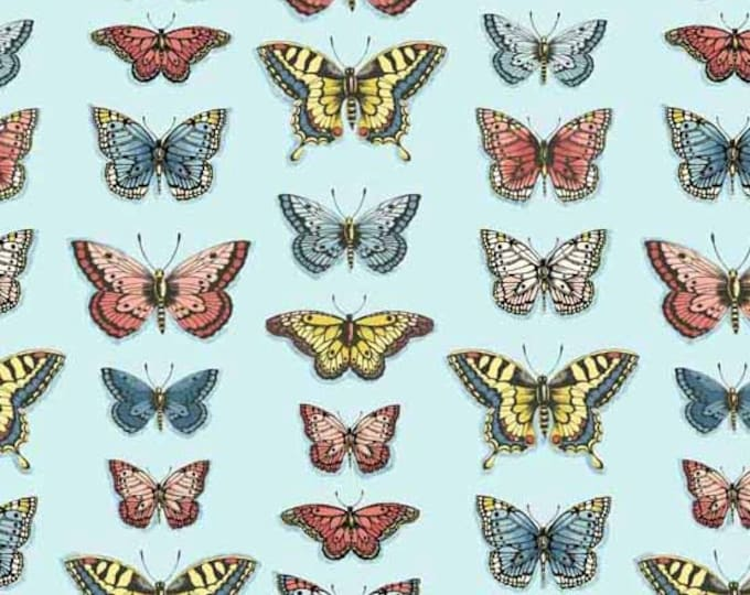 SALE PRICE - Vintage Journal - Butterflies by Makower UK for Andover Fabrics - Quilting Cotton Fabric