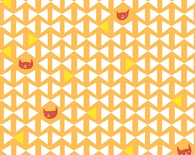 SALE PRICE - Catnap - Cat Finn in Ochre by Lizzy House for Andover Fabrics - Quilting Cotton Fabric