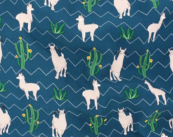 Picasso Alpaca Print in Blue by Telio - Poplin / Lightweight / Fashion / Garment / Apparel Fabric by the Yard
