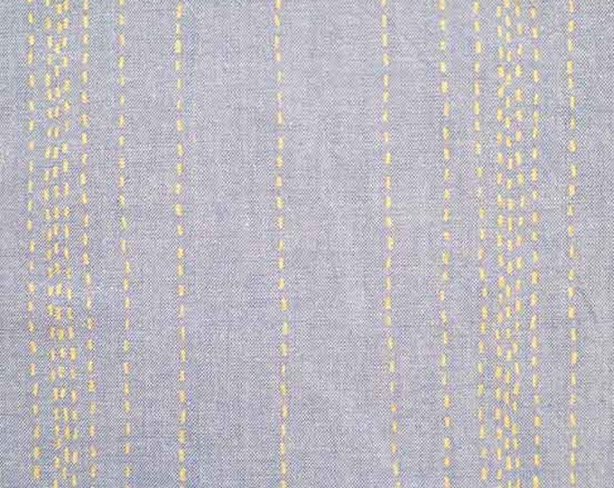 SALE PRICE - Chambray Rules - Threaded in Blue Metallic by Andover Fabrics - Cotton Chambray Fabric