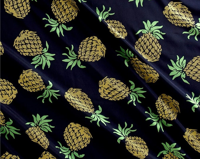 REMNANT FABRIC - 1 1/4 Yards - Pineapples in Navy by Telio - Polyester Crepe de Chine Fabric by the Yard