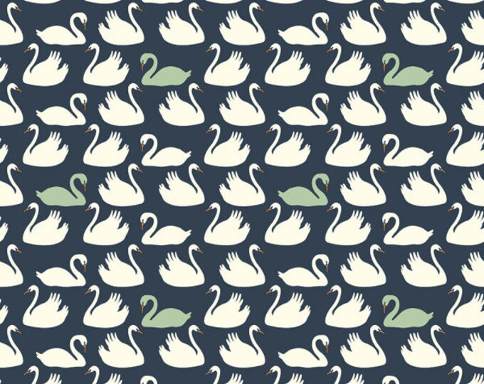 SALE PRICE - Swan Lake - Bevy in Dusk and Mint by Patrick & Andrea Patton for Birch Fabrics - Organic Cotton Knit Fabric