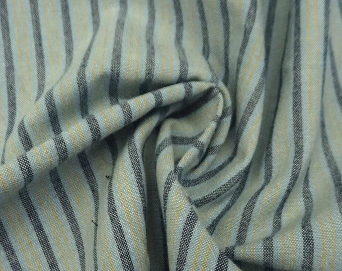 SALE PRICE - Striped Chambray in Light Blue & Gold - Cotton Chambray Fabric