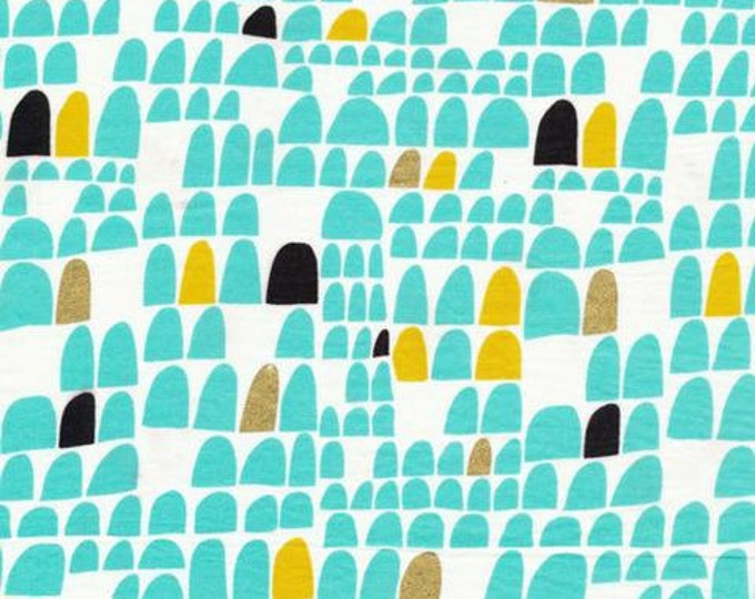 ON SALE - Revelry - Portal in Aqua & White by Lisa Congdon for Cloud 9 Fabrics - Organic Cotton Voile Fabric