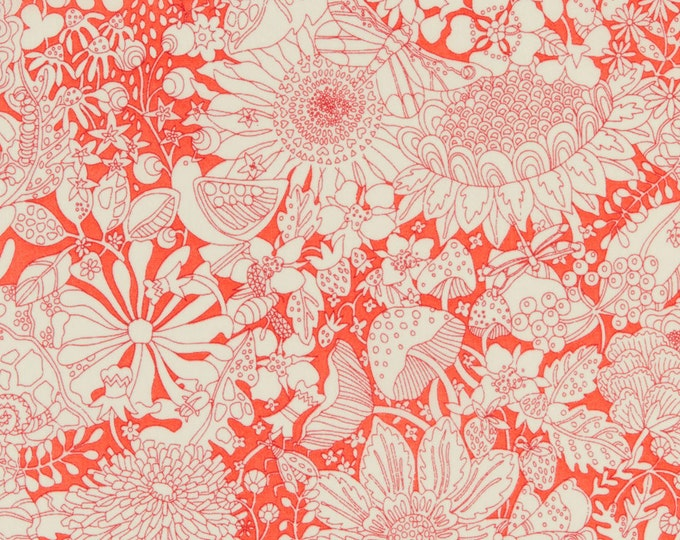 Fairy Land Collection - Fairy Land in Orange by Liberty Art Fabrics - Tana Lawn Cotton Fabric