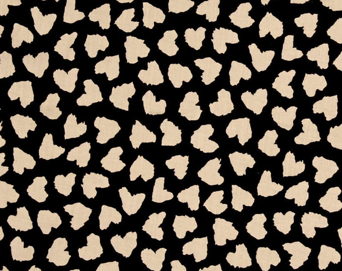 REMNANT FABRIC - 1 1/2 Yards - Abstract Hearts in Black & Cream - Rayon Challis Fabric