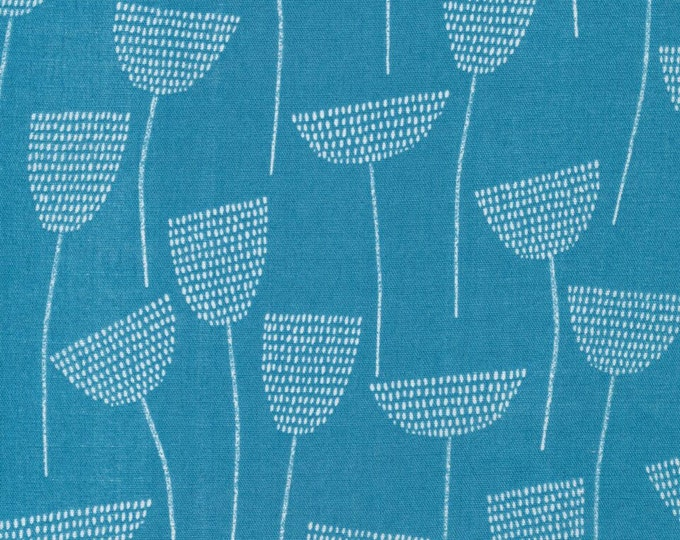 Threads - Stitch Stem in Teal by Eloise Renouf for Cloud 9 Fabrics - Organic Double Gauze Fabric