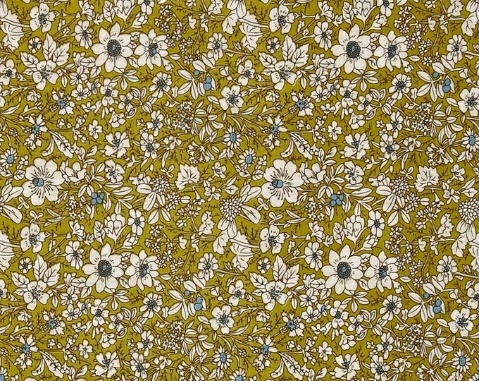 Hampton Court Dainty Floral in Chartreuse by Telio - Cotton Shirting  Fabric by the Yard